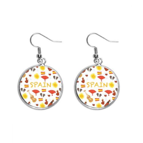 Spain Flamenco Music Food Ear Dangle Silver Drop Earring Jewelry Woman