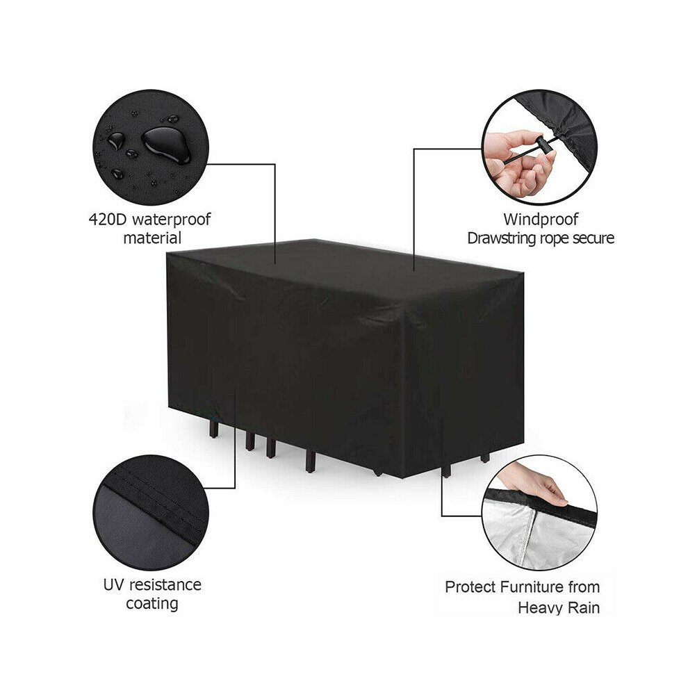 Anti-UV Garden Table Covers Outdoor Waterproof Patio Furniture Covers 210D Heavy Duty Oxford Aspenn Garden Furniture Cover Garden Table Cover 123 x 123 x 74 cm