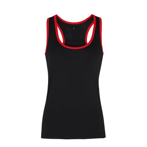(Black/Red, M) TriDri Womens Panelled Fitness Gym Running Sports Fitness Workout Vest Top Tee