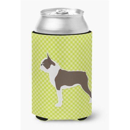 Boston Terrier Checkerboard Green Can or Bottle Hugger