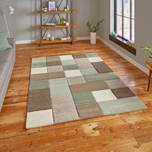 Brooklyn 646 Modern Rugs in Squares of Beige and Green Thick Soft Mats