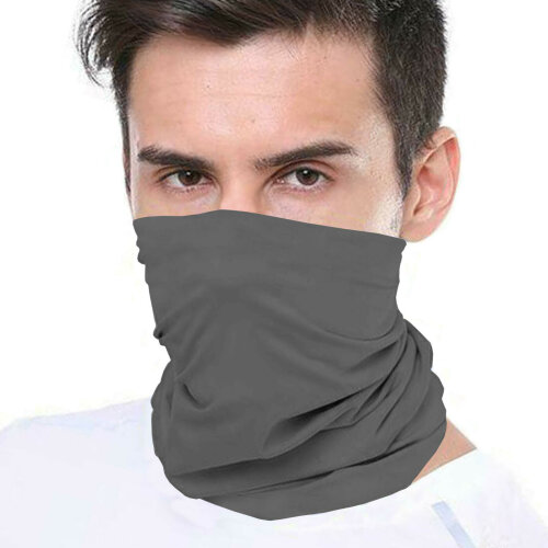 (Grey) Bandana Face Covering Mask Biker Tube Snood Scarf Neck Cover