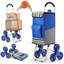 Winkeep Upgraded Shopping Trolley, 2in1 Folding Shopping Cart 75l Capacity & Hand Truck Super Loading 50kg Labor Saving for Stair Climbing w