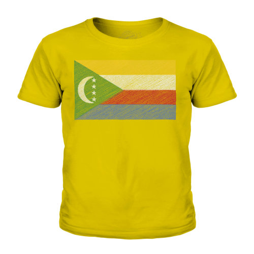 (Gold, 5-6 Years) Candymix - Comoros Scribble Flag - Unisex Kid's T-Shirt