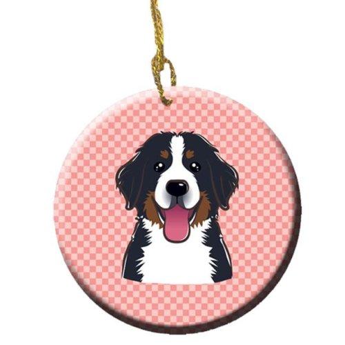 Checkerboard Pink Bernese Mountain Dog Ceramic Ornament, 2.81 In.