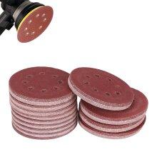 125PCS Sanding Discs 125mm Pads Mix Hook Loop Hole Orbital Sandpaper