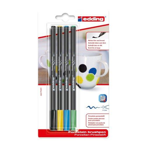 edding 4200 Porcelain Brush Pens - x4 Assorted Blister Carded (Black, Yellow, Light Blue & Light Green)