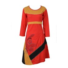 Women's Long Sleeve Dress with Embroidery and Side Floral Print Evening Dress.