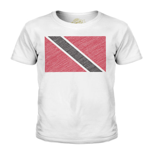 (White, 5-6 Years) Candymix - Trinidad And Tobago Scribble Flag - Unisex Kid's T-Shirt