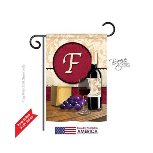 Breeze Decor 80214 Wine F Monogram 2-Sided Impression Garden Flag - 13 x 18.5 in.