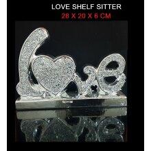 Luxury LOVE Sign Silver Crushed Crystal Diamond Shining HEART Shape