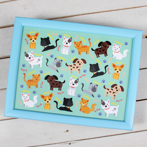 Cats and Dogs Animals Cushioned Serving Lap Tray Mini Food Children's Platter
