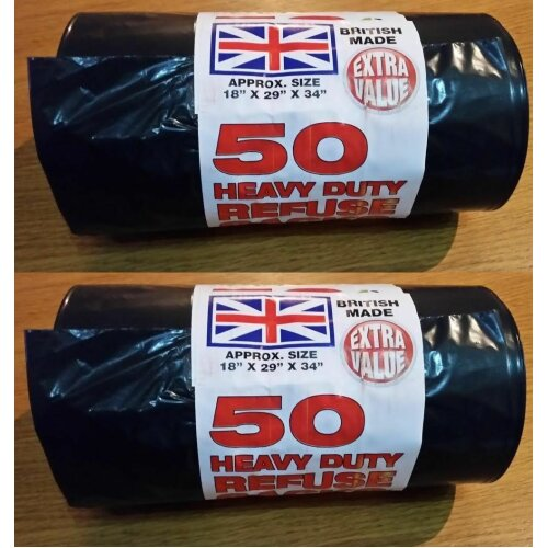 100 HEAVY DUTY BLACK REFUSE SACKS EXTRA STRONG THICK WASTE RUBBISH BAGS BIN LINERS