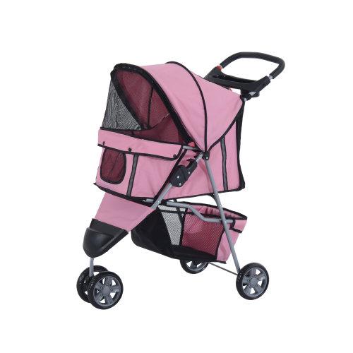 Travel Cat Dog Puppy Buggy Pushcjair Transport Pet Stroller Pink