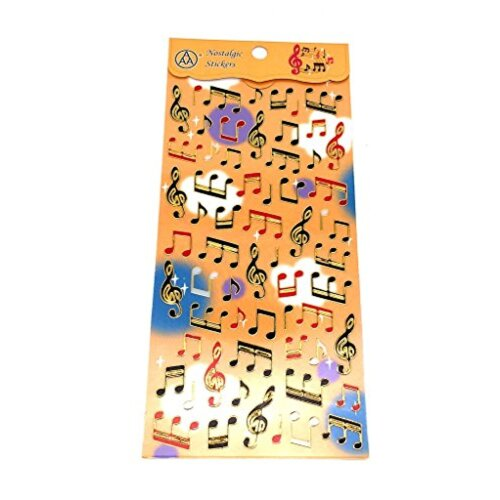 PartyErasers PVC Gold Stamping Stickers - Music Notes and Treble Clef