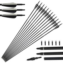 12pack 31inch Archery Fiberglass Arrows Spine 450 with Replacement Screw-In Broadheads for Compound and Recurve Bow 20-55lbs