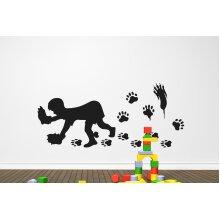 Bear Hands Wall Stickers Art Decals - Large (Height 57cm x Width 130cm) Black