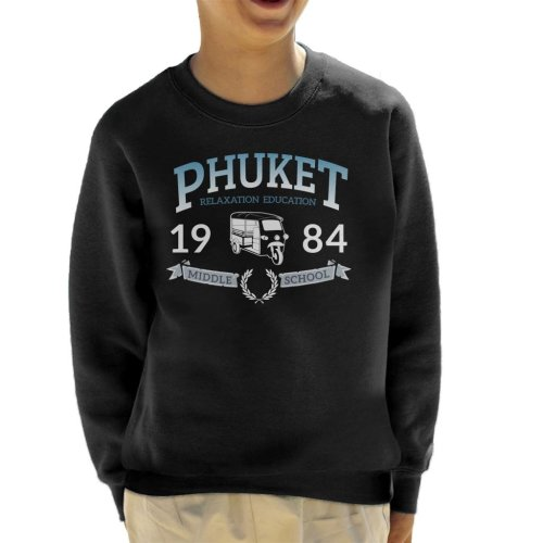 (X-Small (3-4 yrs), Black) Phuket 1984 Middle School Kid's Sweatshirt