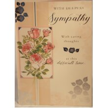 With Deepest Sympathy Card 19cm x 13.25cm With Caring thoughts