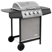 vidaXL Gas BBQ Grill with 4 Burners Black and Silver Outdoor Barbecue Grill
