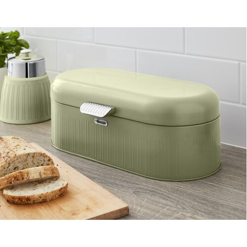 Swan Retro Bread Bin Kitchen Storage Easy Open Lid w/Chrome Plate Handle Easy Clean Generous Capacity - Green