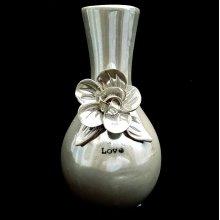 Grey Floral Design Love Vase