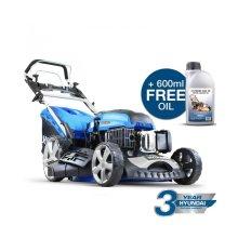 Hyundai 173 cc Self Propelled Electric Push Button Start Petrol Lawn Mower Bundled With 1 LTR OIL, HYM510SPE Blue