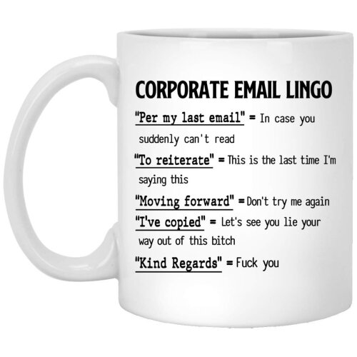 Corporate Email Lingo Mug Gift Funny Work Employee E-Mail Christmas Gift for Men and Women Who Love Tea Mugs Coffee Cup
