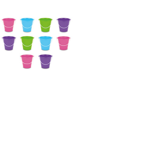 Set Of 10 Mixed Colour Small Beach Buckets - 2 Or 3 Of Each Colour