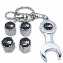 Set Of 4 Chrome Anti-Theft Car Tyre Air Dust Valve Stem Cap With Keyring Spanner For BMW M Sport