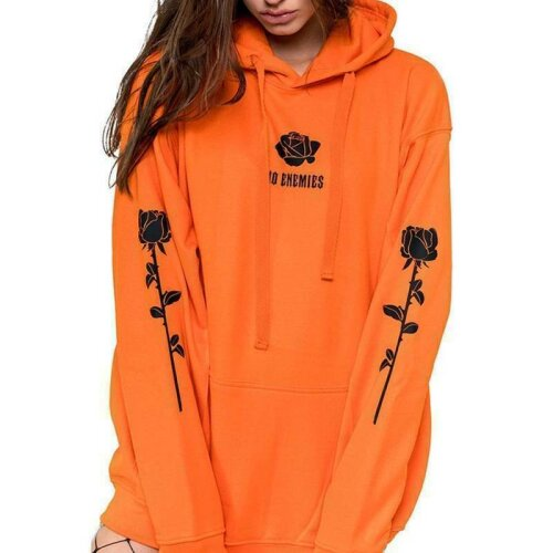 (Orange, L) Womens Printed Hoodies Hooded Sweatshirt Jumper Pullover Tops