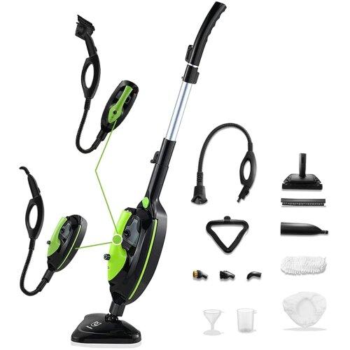 Moolan Steam Mop, 12 in 1 Detachable Handheld Steamer for Kitchen Cars Windows, Carpet Cleaner, Kills 99.9% of Bacteria, 450ML