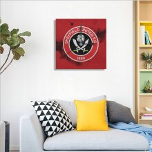 Sheffield United Wall Clock Square Silent PVC Environmental Protection Material Decorative for Kitchen, Living Room, Bedroom, Office