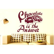 Chocolate Is The Answer Wall Stickers Art Decals - Medium (Height 48cm x Width 57cm) Burgundy