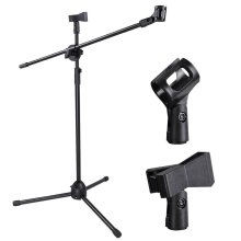 Foldable Microphone Tripod Height Adjustable Stand 2 Mic Clips
