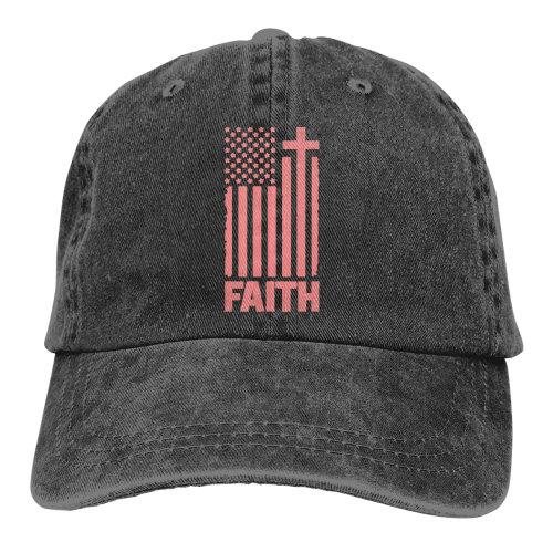 Distressed Peach USA Flag Denim Baseball Caps
