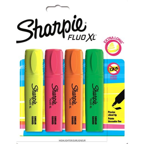 Sharpie Fluo XL Highlighter, Chisel Tip - Assorted Colours, Pack of 4