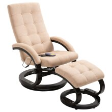 vidaXL Massage Recliner with Footrest Cream Suede-touch Fabric Lounge Seat