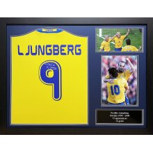 Framed Freddie Ljungberg signed Sweden shirt with COA & proof