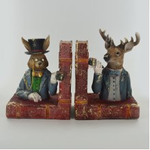 Pair of Bookends | Dapper Country Animals | Rabbit & Stag
