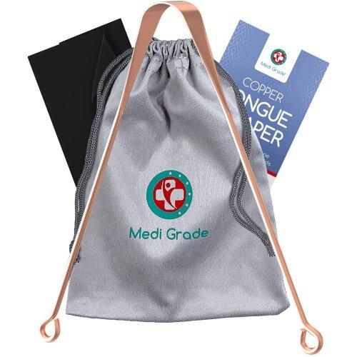 Medi Grade Copper Tongue Scraper Kit with Bag and Cloth