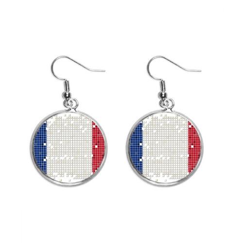 France Simple Grid National Flag Ear Dangle Silver Drop Earring Jewelry Woman