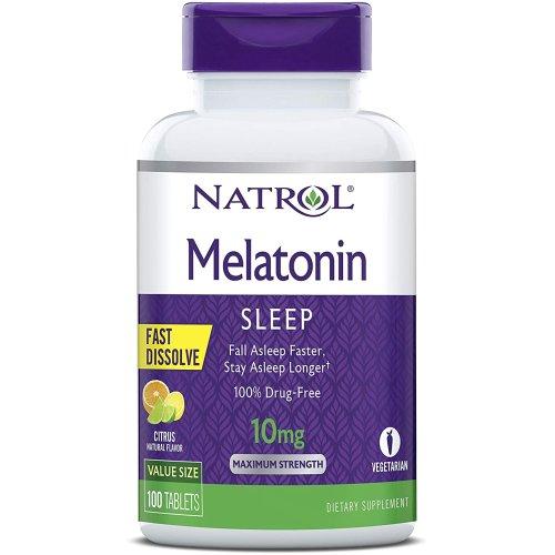 Natrol Melatonin, Maximum Strength, Citrus Flavor , 10 mg, 100 Tablets
