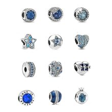 New clip winter crystal Elevated  Beads Fit Original Pandora charms Silver Bracelet Jewelry