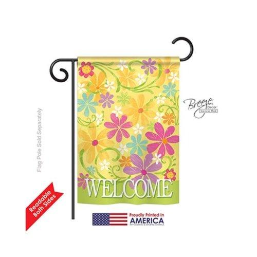 Breeze Decor 50052 Welcome Daisy Garden 2-Sided Impression Garden Flag - 13 x 18.5 in.