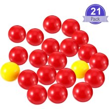 Gejoy 21 Pieces Game Replacement Marbles 1 Set Game Replacement Balls Compatible with Hungry Hungry Hippos, 19 Red Balls and 2 Yellow Balls