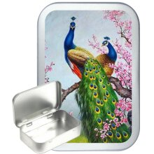 Colorful Peacocks 50ml Silver Hinged Tobacco tin