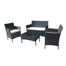 Home Essential 4 Pieces Rattan Garden Furniture set (Black)