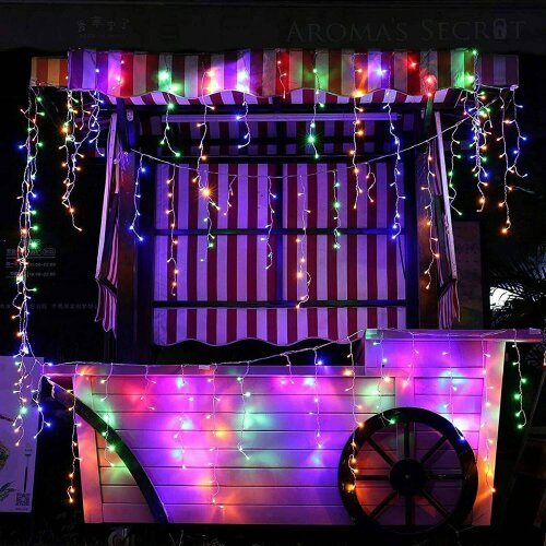 (Multi-Coloured) The Magic Toy Shop 200 Christmas LED Icicle Snowing Chaser Xmas Lights Timer & Memory Indoor / Outdoor