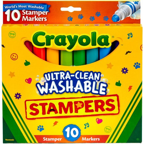 Crayola Ultra-Clean Washable Stamper Markers | 10 Pack Crayola Set